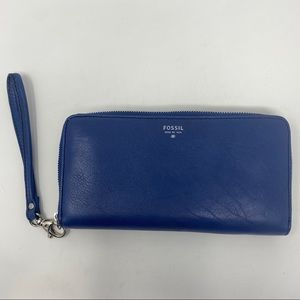 Fossil Blue Leather Zip Around Wallet